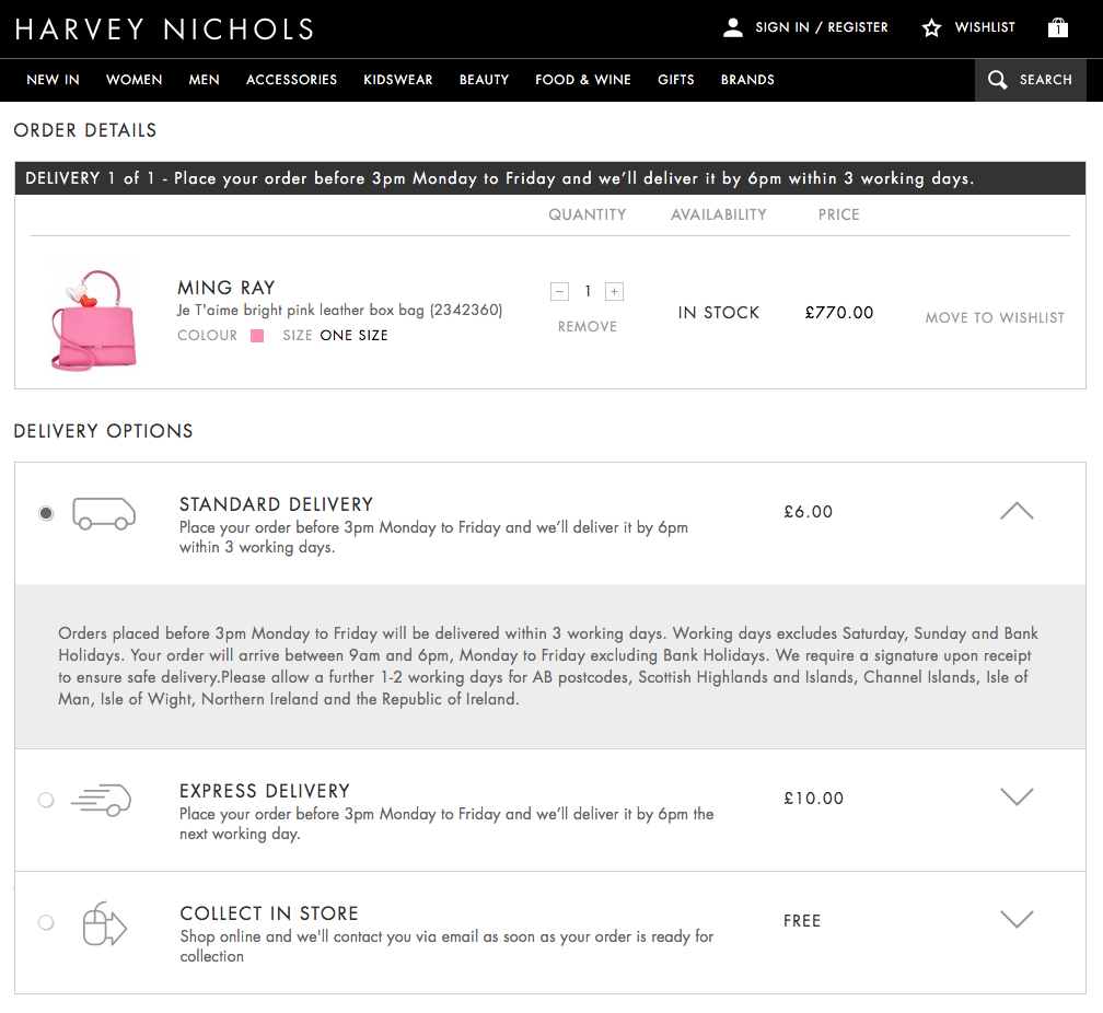 Harvey Nichols checkout
