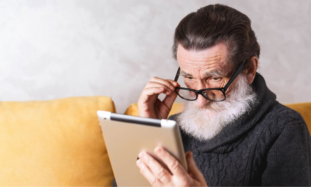 Older user using an ipad